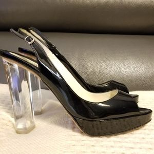 Brian Atwood Lucite Patent Peep Toe Slingback Heel